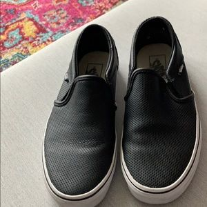 Van's Off the Wall Black Leather Slip-ons - Size 8